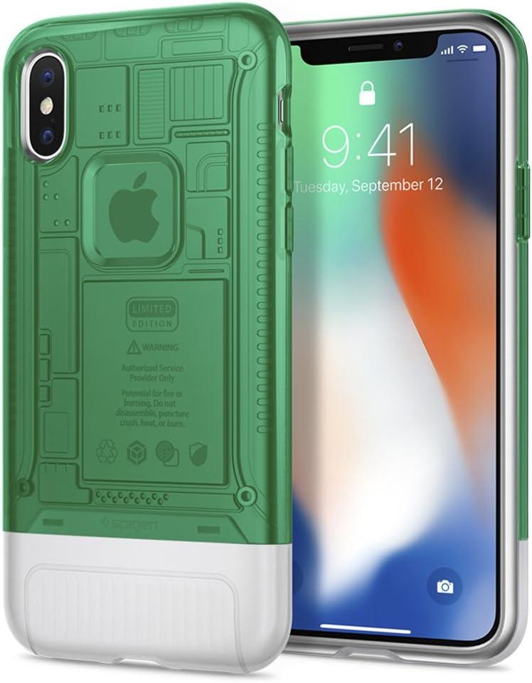 Spigen Classic C1 (10th Anniversary Limited Edition) [Retro] Designed for Apple iPhone X Case (2017) - Sage