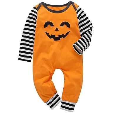 0a11741f27c5 Halloween Infant Toddler Baby Boys Girls Jumpsuit Pumpkin Smile Face  Bodysuit Long Sleeve Striped Romper Fall