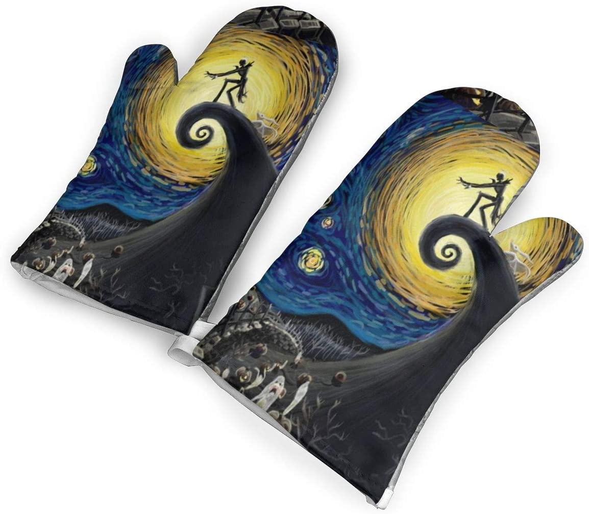 TMVFPYR Nightmare Before Christmas Starry Night Starry Sky Oven Mitts, Non-Slip Silicone Oven Mitts, Extra Long Kitchen Mitts, Heat Resistant to 500Fahrenheit Degrees Kitchen Oven Gloves