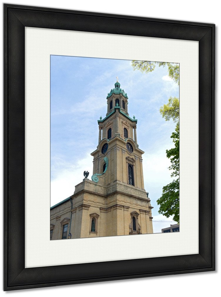 Ashley Framed Prints Church Corner And Tower In Cathedral Plaza, Wall Art Home Decoration, Color, 40x34 (frame size), Black Frame, AG5448721