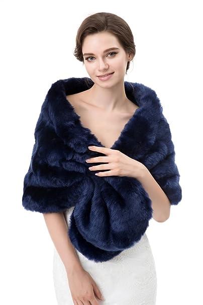 Insun Mujeres Chales Estolas de piel Boleros Chal de moda de lujo para fiesta bodas Azul