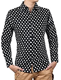 uxcell Men 100% Cotton Polka Dots Long Sleeve Slim Fit Dress Shirt