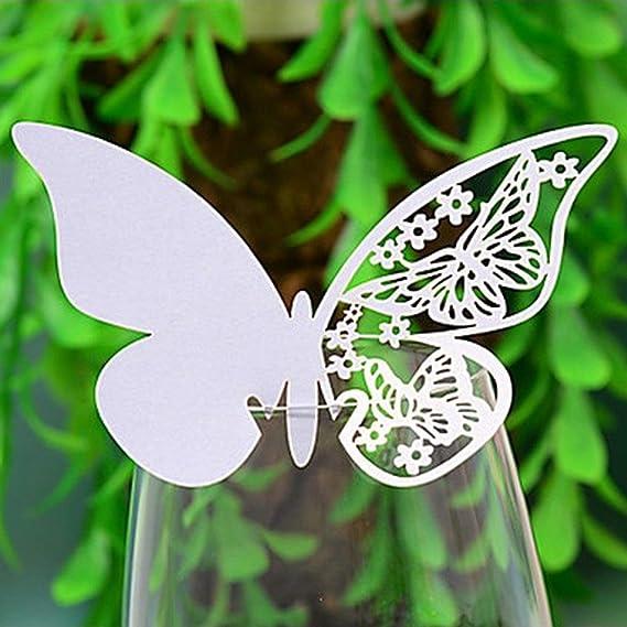 Desconocido Tarjetas Decorativas troqueladas para Copas, mesas y Souvenir, diseño de Mariposa, Color Blanco, Blanco, 110 mm x 70 mm: Amazon.es: Hogar