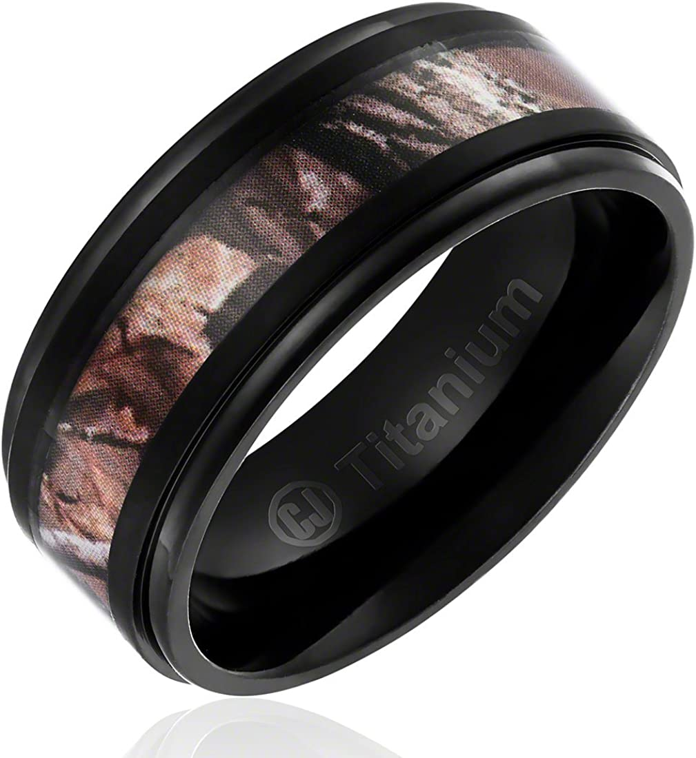 9MM Men's Titanium Ring Wedding Band | Black Plated with Camouflage Inlay | Stepped Edges
