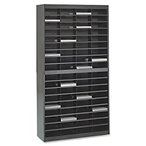 Safco Products E-Z Stor Literature Organizer, 72 Compartment, 9241BLR, Black Powder Coat Finish, Commercial-Grade Steel Construction, Eco-Friendly