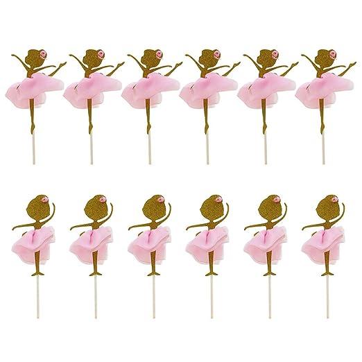 STOBOK 12 UNIDS Glitter Gold Ballerina Dancing Girl Cupcake Toppers Selecciones para Boda Ducha Nupcial Fiesta de Cumpleaños Decoración