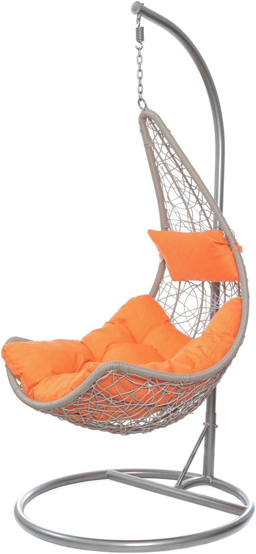 Dondolo intrecciato con seduta sospesa e cuscino Arancione