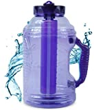 Cool Gear 75 oz EZ Freeze Water Bottle w/ Handle Straw and Ice Pack