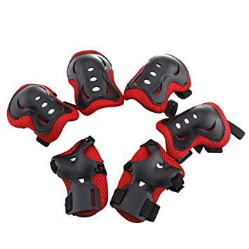 Kids Knee Pads 6pc Protective Gear Knee Elbow Pad Green Skateboard Rollerblades