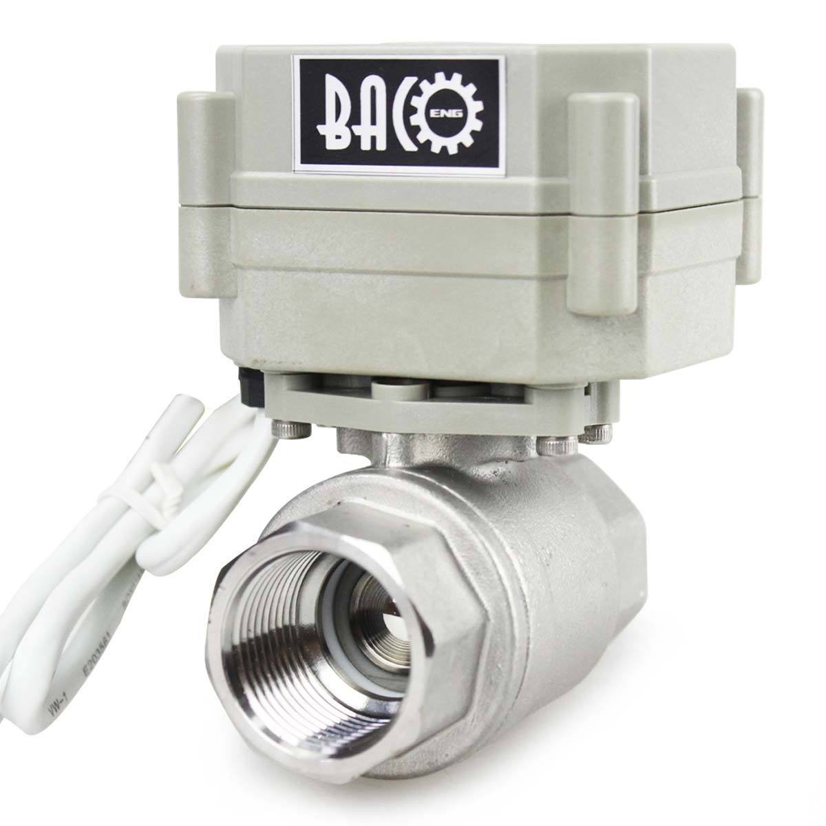 AC110-230V CR202 2 Wires Normally Closed Electric Ball Valve BACOENG 1 DN25 Stainless Steel BSP 2 Port Motorized Ball Valve