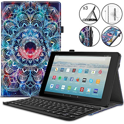 VORI Keyboard Case for Fire HD 10 Tablet(7th Generation, 2017 Release), Detachable Wireless Keyboard Stand Folio Cover with Hand Strap and Auto Wake/Sleep for Kindle Fire 10.1 inch, Mandalas