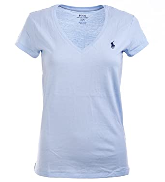 62e1e114 Polo Ralph Lauren Women's Pony Logo V-Neck Tee at Amazon Women s Clothing  store: