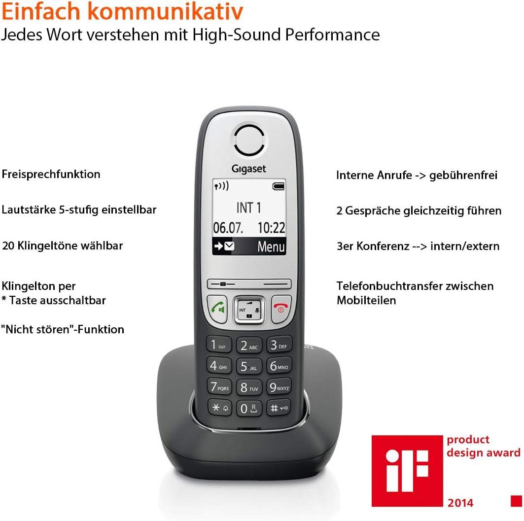Gigaset A415 - Teléfono inalámbrico (DECT, 50 m, 300 m, 100 entradas) Negro: Amazon.es: Electrónica