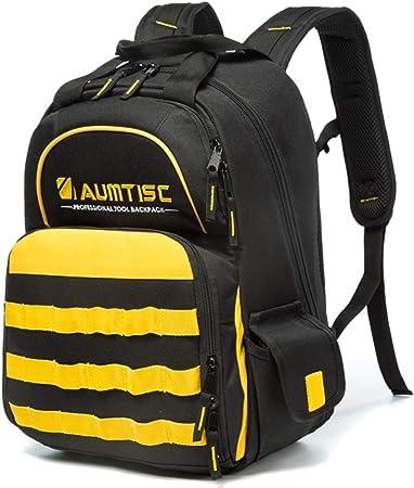 Aumtisc Werkzeug Rucksack Strapazierfahig Werkzeugtasche Mit Multifunktionstasche Industrie Und Bauarbeits Rucksack Schwarz Amazon De Baumarkt