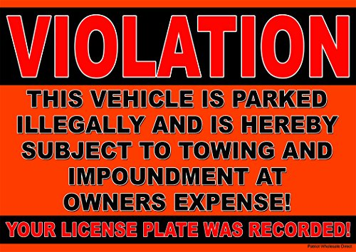 (10 Pack of Violation No Parking Stickers - Towing at Owners)
