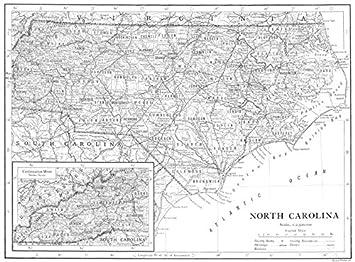 Amazon.com: NORTH CAROLINA. North Carolina state map showing ...