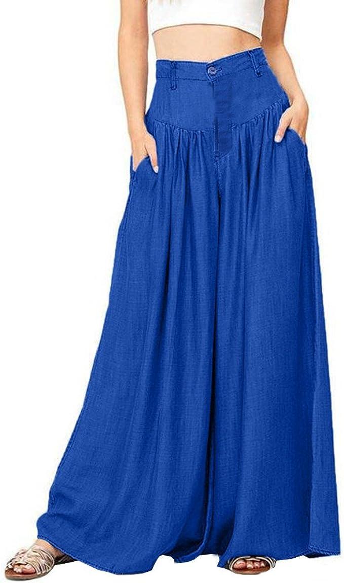 UOFOCO Plus Size Wide Legs Pants Women Casual High Waist Trousers Soft Pantalon Long Pants