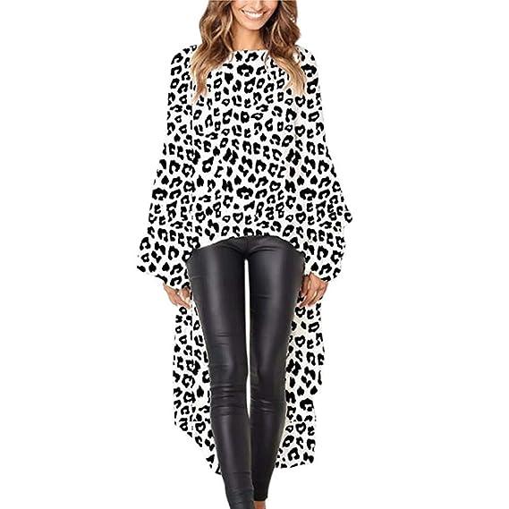 LILICAT® Leopardo Irregular Camiseta de Mujer, Leopardo Estampado de Mujer Camisetas asimétricas Dobladillo Liso Manga Blusa Tops Blusa (S/M / L/XL): ...