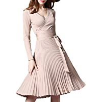 Anlamp Winter Dress Womens Spring Sexy V-Neck Long Sleeve Wrap Dresses Elegant Belted Midi Solid Knit Sweater with Ruffle