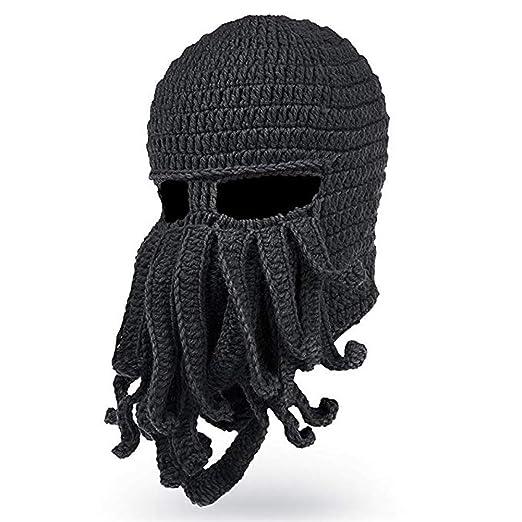 bd41fc6c5d4a7 Tentacle Beard Beanie Knit Octopus Hat Wind Warm Windproof Ski Mask Black