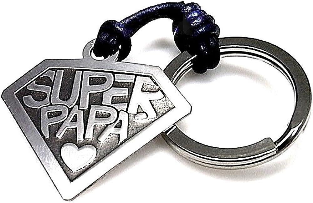 Llavero plata Ley 925m SUPER PAPÁ 30mm. cuero regalo hombre
