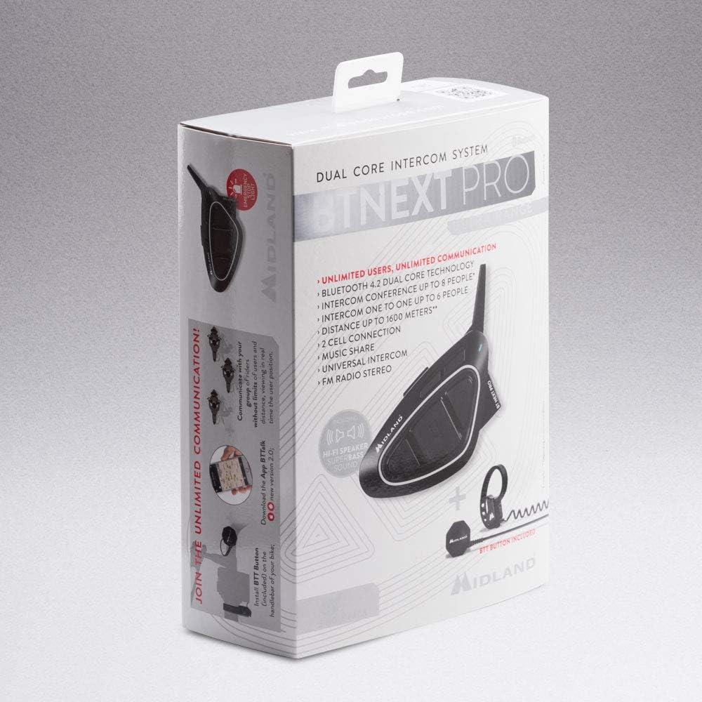 Moto Kommunikationssystem Midland Bt Next Pro Mit Hifi Lautsprechern Und Btt Entriegelungstaste Code C1222 04 Einzelpackung Auto
