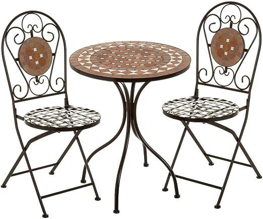 Conjunto de Mesa y sillas con Mosaico marrón de Metal y cerámicacon rústicas - LOLAhome: Amazon.es: Jardín