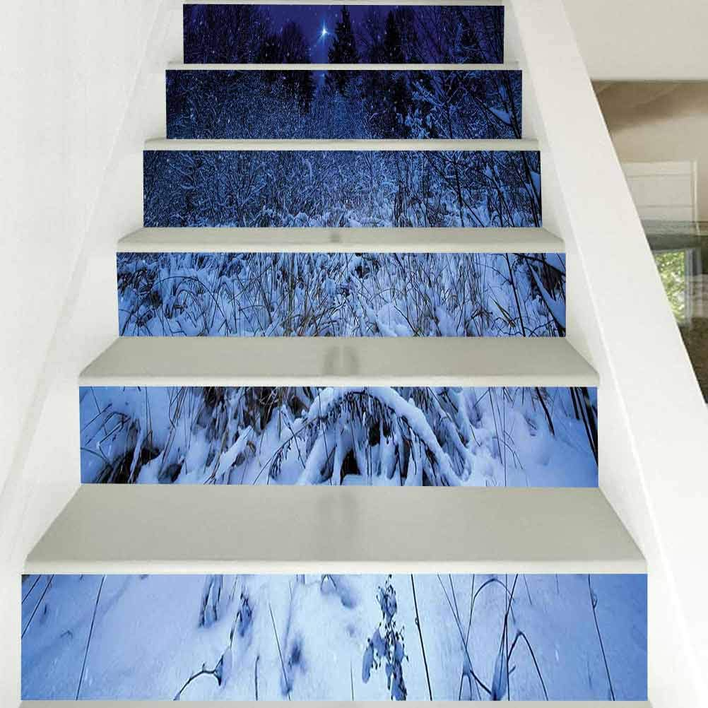3D Self-Adhesive Stairs Risers Stickers, Christmas Snowy Forest at Night with Xmas Star Holiday Bliz, for Wedding Home Restaurant Decals, W39.3 x H7.08 Inch x13PCS