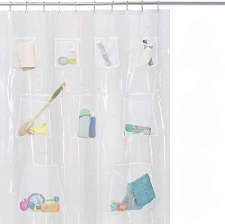 Assorted Colors Shower Curtain PEVA Vinyl  Liner With Mesh Pockets Quick Dry