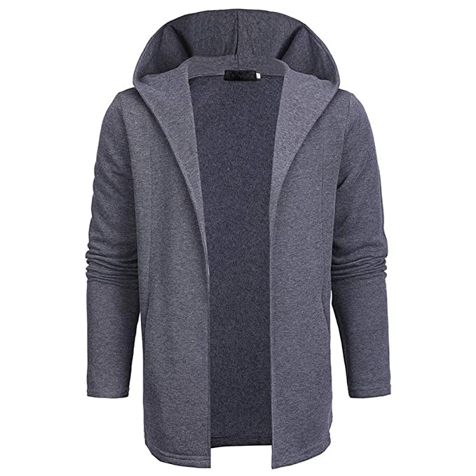 TOPUNDER Men Casual Solid Color Cardigan Sweater Slim Fit Hoodies Cotton Jacket Coat at Amazon Mens Clothing store: