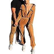 20d7e82d6e0 Joyfunear Women s Leopard Patchwork Long Sleeve Slim Jumpsuit Romper with  Front Zippers