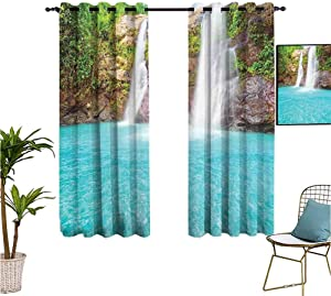 Mozenou Waterfall,Living Room/Bedroom Window Curtains,Waterfall and Clear Natural Pool Plants Sunbeams in a Summer Day View,Isolate Sunlight Dark Curtains,52x63 Inch Aqua Green Pale Brown