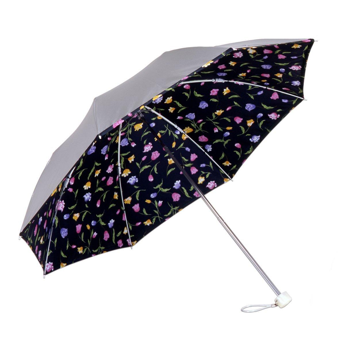 Liebenの花柄 チューリップ 黒 <ひんやり傘>