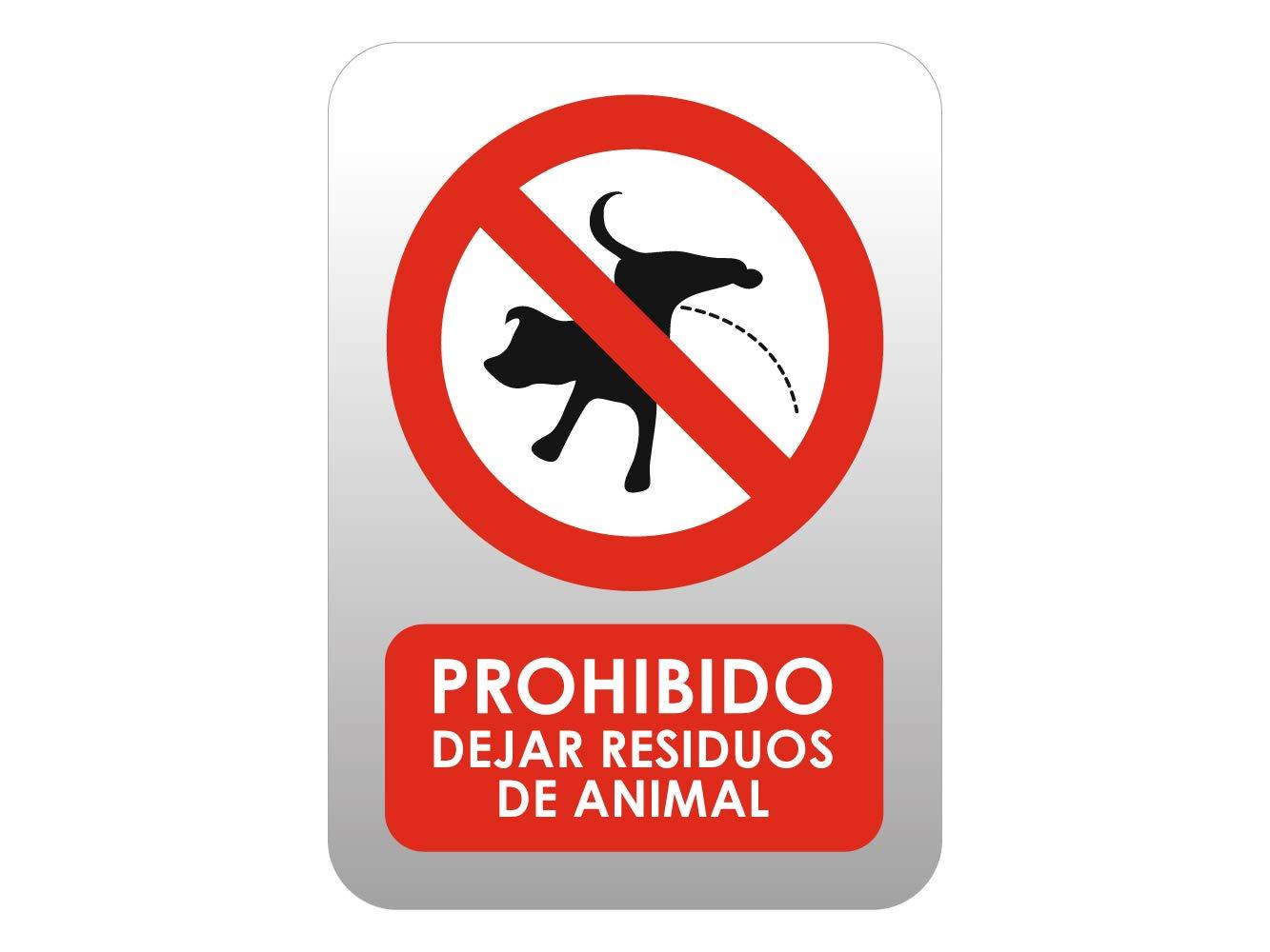 Oedim Señaletica en Vinilo de Prohibido Dejar Residuos Animales Tamaño A5 (14,80x21cm) Señaletica Adhesiva Duradera y Económica
