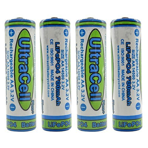 (4-Pack) Ultracell 3.2V LiFePo4 14500 AA 700mAh Rechargeable Battery for Solar Panel Light, Tooth Brush, Shaver by ()
