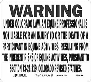 Colorado estado Equine señal de advertencia