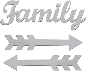 3 Pieces Family Letter Arrow Wood Sign Family Cutout Wooden Wall Art Sign Rustic Arrow Wooden Sign Farmhouse Family Wood Arrow Wall Decor for Home Living Room Entryway Decoration (Grey)