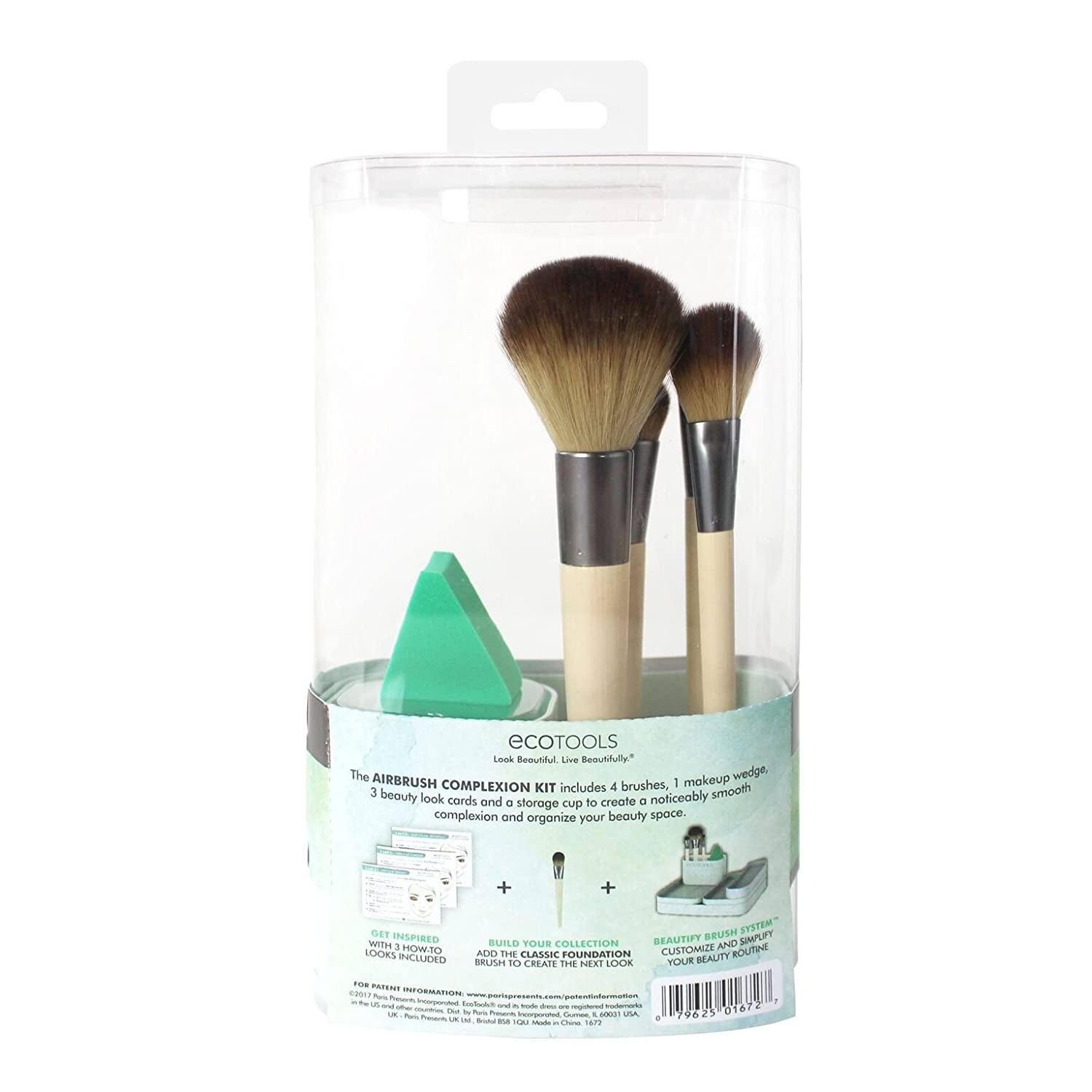 1 Ecotools Makeup Brush Tipos De Cancer Eco Tools 1600 Full Powder Amazoncom Airbrush Complexion Kit Includes Wedge 4 Brushes