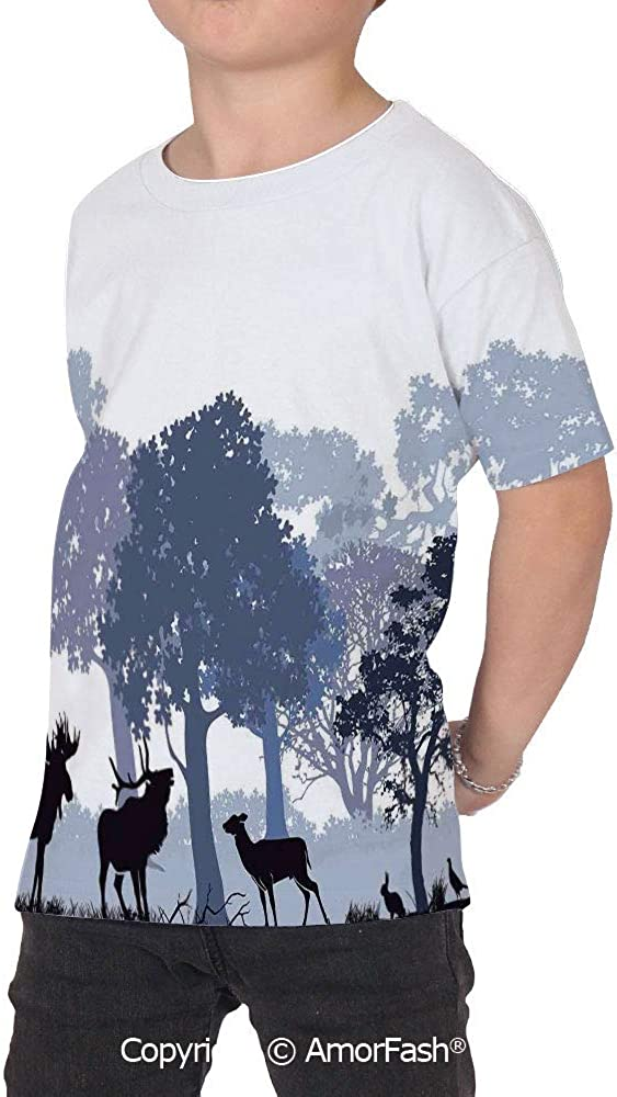 PUTIEN Moose Over Print T-Shirt,Boy T Shirt,Size XS-2XL Big,Forest Design Abstract Wood