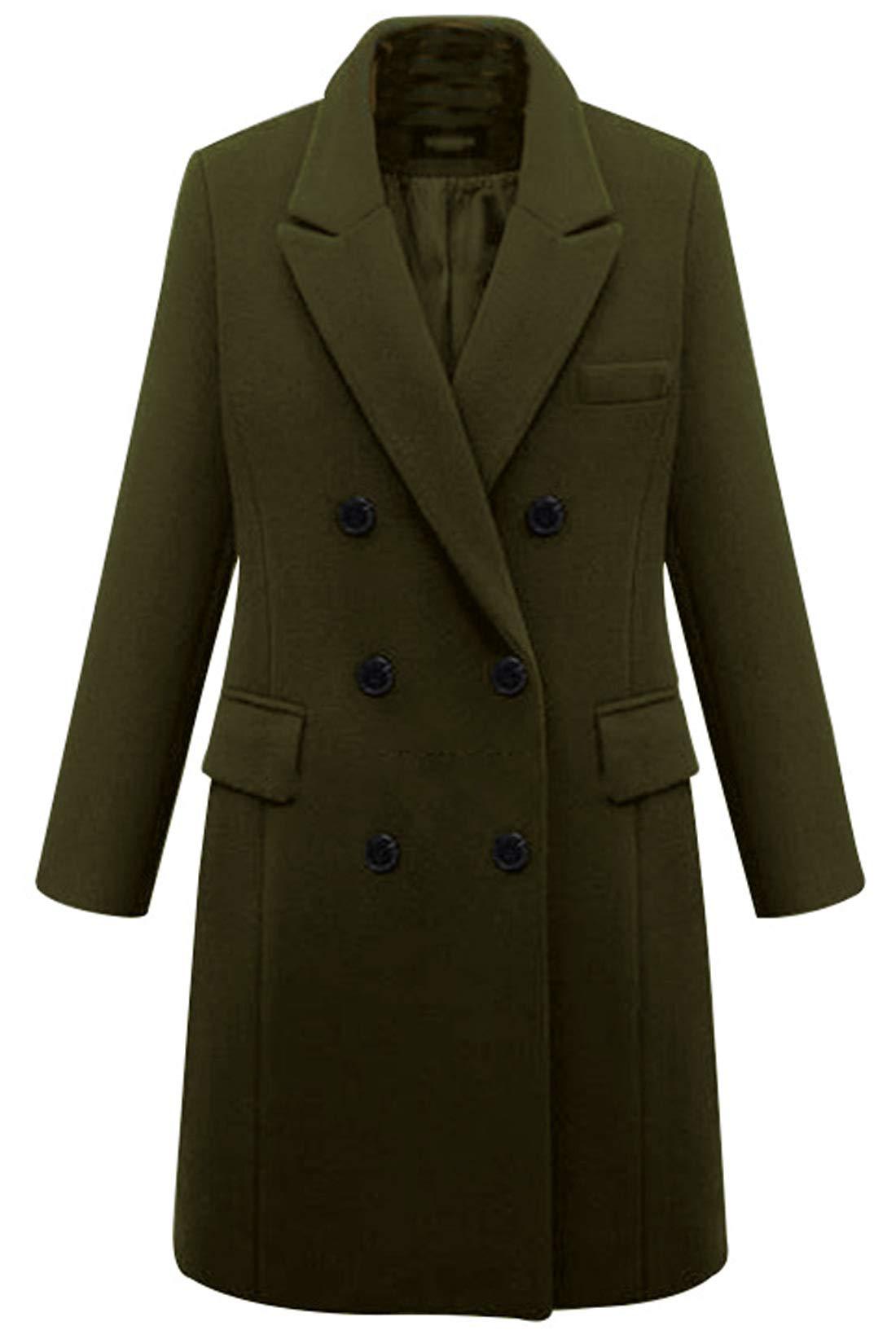 chouyatou Women's Basic Designed Notch Lapel Double Breasted Mid-Long Wool Pea Coat