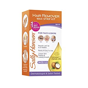 Sally Hansen Hair Remover Wax Kit for Face, Brows, and Bikini, 34 Count (17 Double Sided Strips), Pack Of 1, Packaging may vary