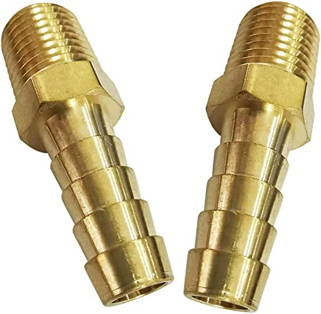 """2x 5//16/"""" HOSE BARB X 3//8 MALE NPT Brass Pipe Fitting NPT Thread Gas Fuel Water"""
