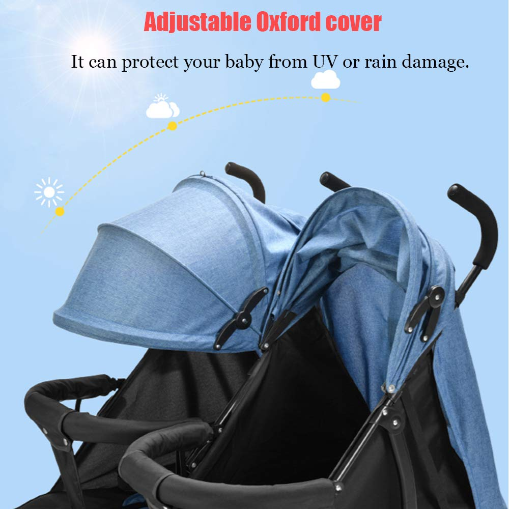 Twin Double Stroller, Foldable Tandem Stroller Side by Side Independently Reclining Seats Lightweight Extended Canopy Newborn Gift,Blue by Saturey (Image #2)