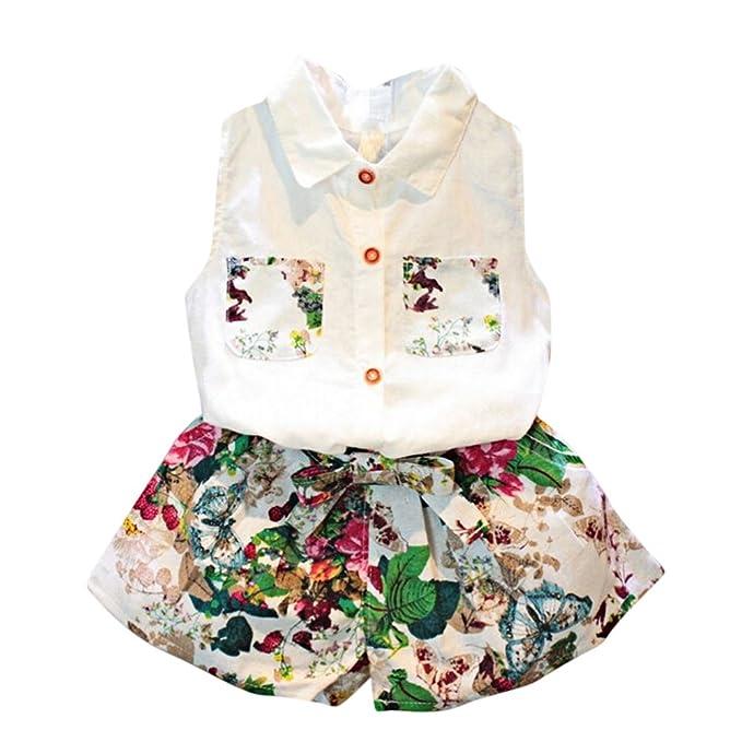 693e0ce8c Covermason Niña Sin mangas Blusa Camiseta y Floral Pantalones(1 Conjunto)  (4-