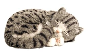 Perfect Petzzz Gato Gray Tabby de peluche, que respira