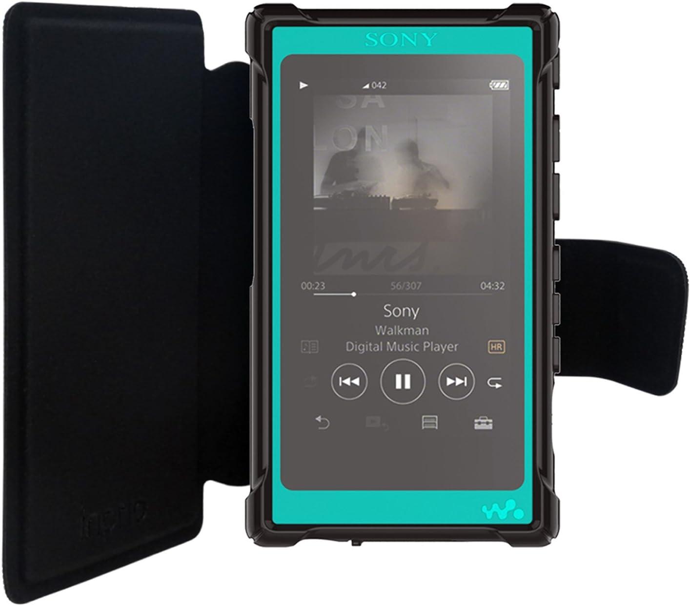 Negro Protector de Pantalla inorlo PU Funda Cuero Flip Piel para Sony Walkman NW-A55 Reproductor de MP3 Case Cover con Cierre Magn/ético