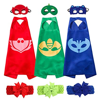 PJ Masks Costumes Set of 3 Capes and Masks with Hair Bands For Kids Catboy Owlette