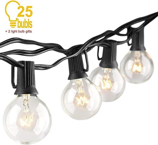 Guirnalda Bombillas Exteriores Luminosas, Luz De Cadena 7,62 Metros Impermeable Bombillas Edison Luces Para Exteriores/Interiores Para Jardín Habitación Patio Fiesta(2 Bulbos De Repuesto): Amazon.es: Iluminación