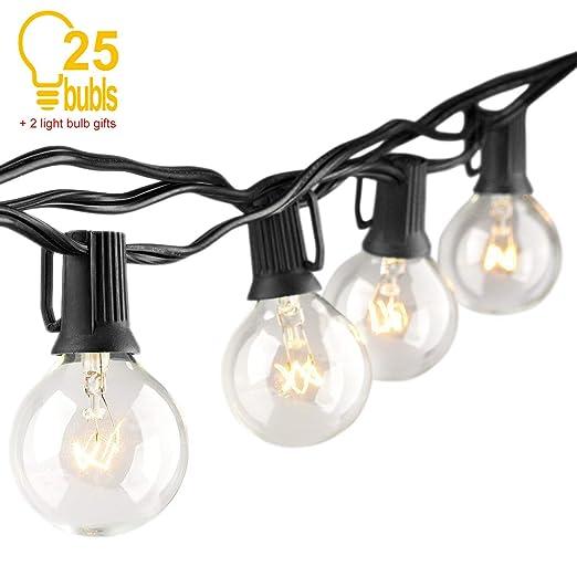 Guirnalda Bombillas Exteriores Luminosas, Luz De Cadena 25 Metros Impermeable Bombillas Edison Luces Para Exteriores