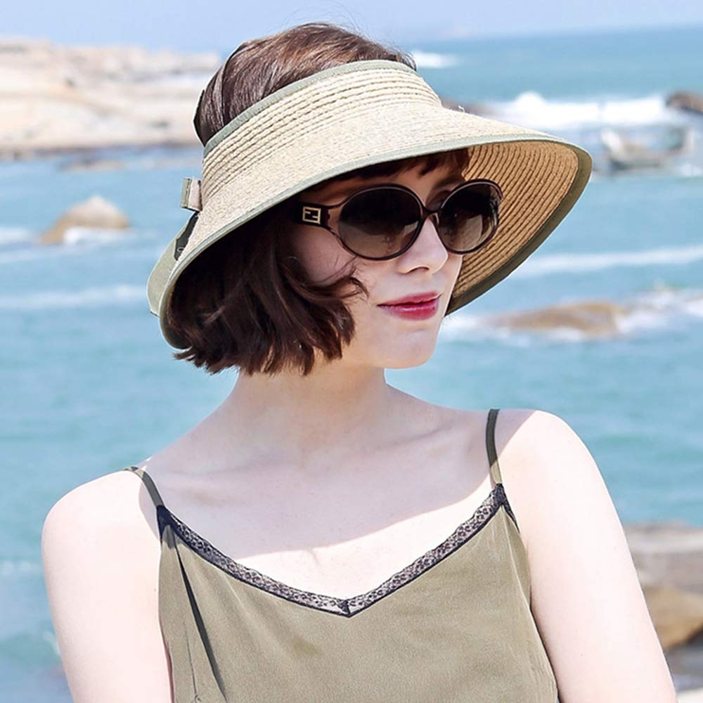 Green Sun Hat for Women Ladies Travel Hat Summer Foldable,Beach Caps Bowknot Straw Hat Adjustable Size